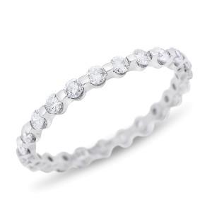 18k White Gold 1.00 Ct. Natural Diamond Single Prong Eternity Band Size 8