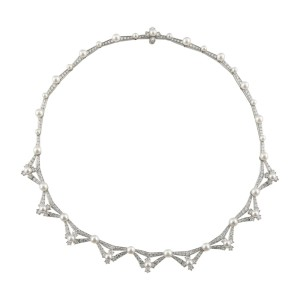 Tiffany & Co. Platinum 5.00ct Diamond & Cultured Pearl Necklace