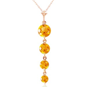 14K Solid Rose Gold Necklace with Natural Citrines