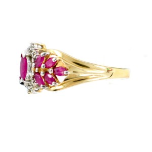14K Yellow Gold Ruby Leaf Style Womens Ring
