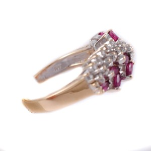 14K Yellow Gold Ruby & Diamonds Leaf Style Womens Ring
