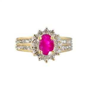 10K Yellow Gold 0.3ct. Rubies & 0.70ct. Diamonds Womens Sunflower Ring