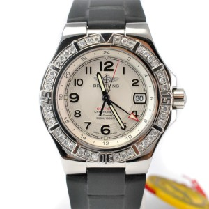 Breitling Aeromarine Colt GMT A32370 Diamond Swiss Automatic Silver Mens Watch