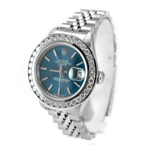 Rolex 69240 1.63 Ct Diamond Bezel Oyster Perpetual Date Steel Women's Watch