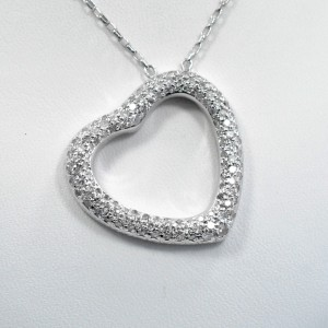 14K White Gold Diamond Heart Pendant Pave Watch
