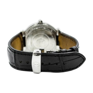 Charriol Geneve Rotonde RT38 Diamond Black Roman Dial Leather Band Sterling Silver Watch