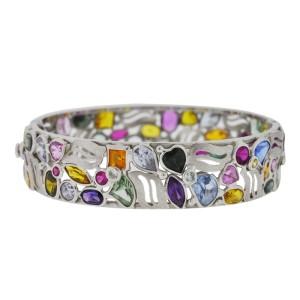 14K White Gold Multi-Color Gemstone Bangle Bracelet