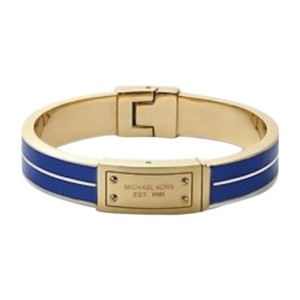 Michael Kors Gold Tone and Blue Enamel Logo Plaque Hinge Bangle Bracelet