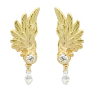 18K Gold Angel Wings Drop Down Diamond Women Stud Earring