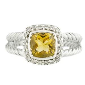 David Yurman Petite Albion 0.17CT Diamond Citrine 6.5Grams Silver Ring Size 8.25