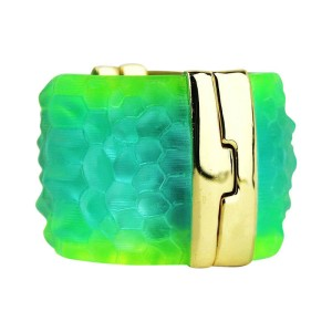 Alexis Bittar Gold Finish Metal & Lucite Bangle Bracelet