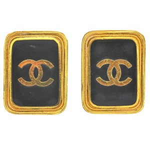 Chanel XL Vintage Square Logo Black & Gold Tone Clip Earrings