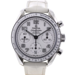 Omega Speedmaster 38mm Chronograph Stainless Steel Leather Strap Watch
