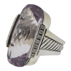 David Yurman Deco Lavender Amethyst Elongated Silver Diamond Ring
