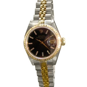 Rolex Oyster Perpetual DATE Black Face Two-Tone Yellow Gold and Steel Watch