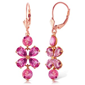 5.32 CTW 14K Solid Rose Gold Pink Topaz Flower Earrings