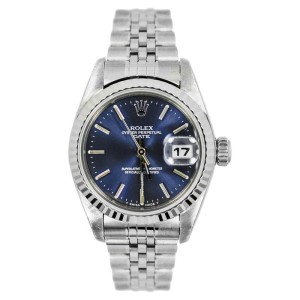 Rolex Datejust 69240 Blue Dial 18K White Gold Bezel SS Jubilee Ladies Watch