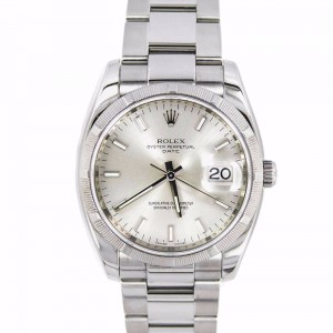 Rolex Oyster Perpetual Date 115210 Silver Dial Stainless Steel Automatic Men's Watch