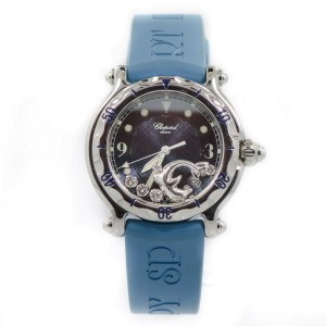 Chopard 28/8897/8 Happy Diamond Dolphin Blue Rubber Stainless Quartz Women's