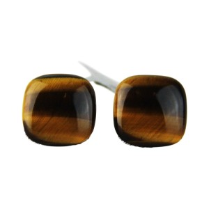 David Yurman Sterling Silver Square Tiger Eye Cufflinks