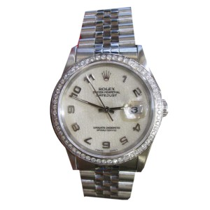 Rolex Oyster Perpetual Datejust Jubilee Dial Diamond Bezel Mens Watch