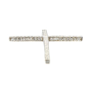 14K White Gold Diamond Accents Cross Style Pendant
