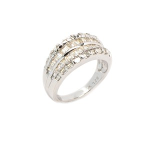 14K White Gold 1 Ct Baguette Shape Diamond Ring