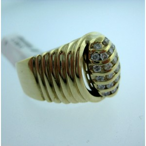 10K Yellow Gold Marquise Bee Hive Diamond Mens Ring
