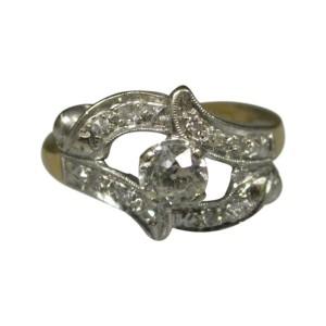 14K Multi Tone Gold Antique European Cut Diamonds Ladies Ring