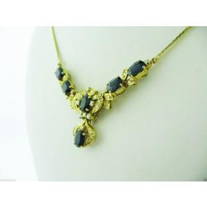 18K Yellow Gold Sapphire Diamond Necklace