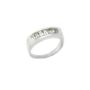 18K White Gold Baguette Style Men's Wedding Band