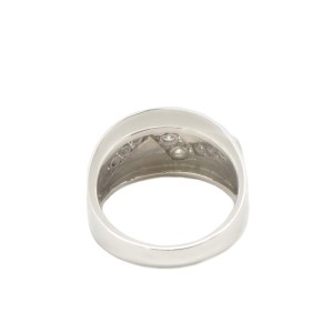 14K White Gold Round Stones Men's Wedding Band