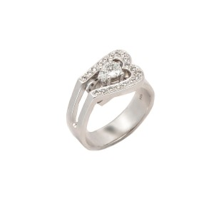 14K White Gold Pear Shape Center Stone Ring