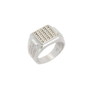 14K White Gold Round Stones Mens Ring