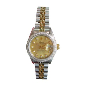 Rolex Oyster Perpetual Datejust Two-Tone 18K Gold Diamond Bezel And Dial Ladies Watch