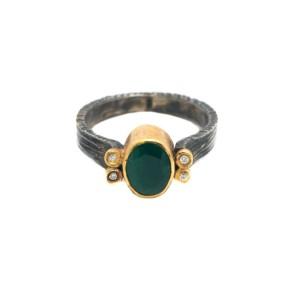 22K Gold & Sterling Silver Diamond Ring