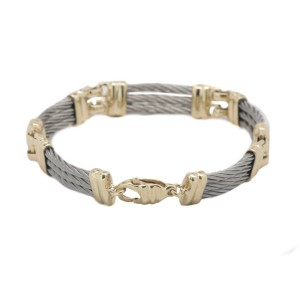14K Two-Tone Yellow Gold And Sterling Silver Women's Bracelet