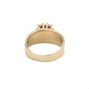 14K Yellow Gold Emerald & Diamonds Ring Size 6