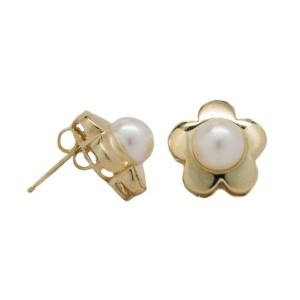 14K Yellow Gold Floral Stud Culture Pearls Butterfly Back Earrings