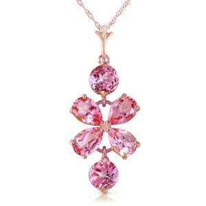 3.15 CTW 14K Solid Rose Gold Petals Pink Topaz Necklace