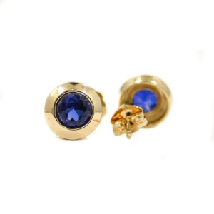 Yellow Gold Sapphire Womens Earrings