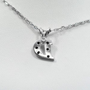 Initial D Pendant 14K White Gold 0.12 CT Diamonds