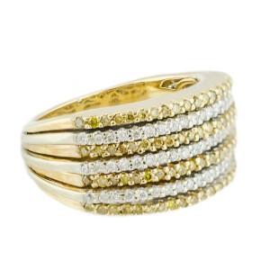 White Yellow Gold Diamond Mens Ring Size 7
