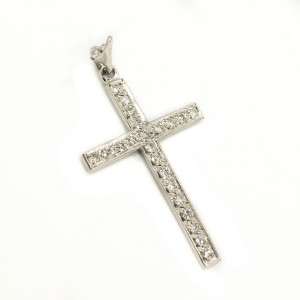 Pendant 18K White Gold With 1.26CT Single Cut Diamonds E VVS Cross Style 2.1 Gr
