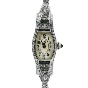 Ormont 18K White Gold with Diamonds 14mm Vintage Womens Watch