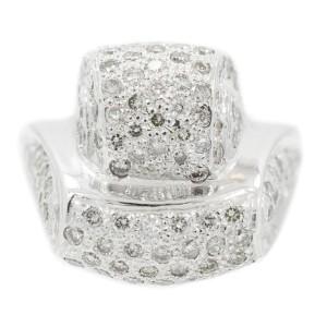 White White Gold Diamond Mens Ring Size 7.5