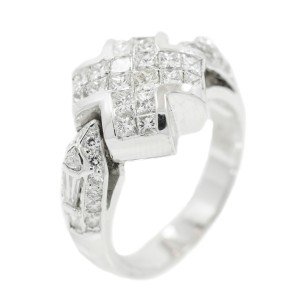 White White Gold Diamond Mens Ring Size 5.25