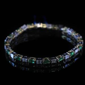 Diamond & Emerald Women's Tennis Bracele Two Tone 14K Gold 2.20Ct Diamonds