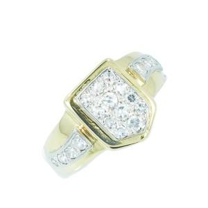 Yellow Gold Diamond Mens Ring Size 9