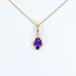 Drop Amethyst 14K Yellow Gold With Diamonds Women's Pendant